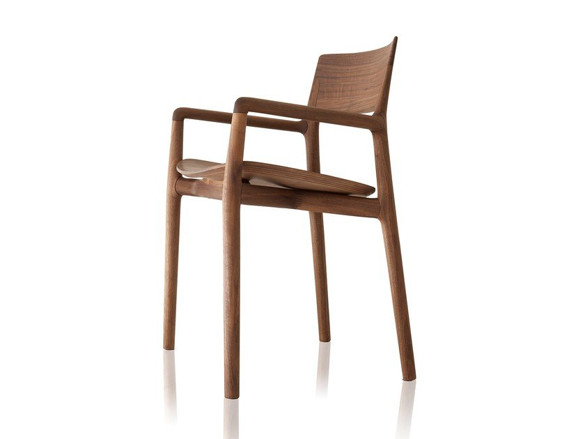 Solid wood chair with armrests NORMA   Solid wood chair by Sollos