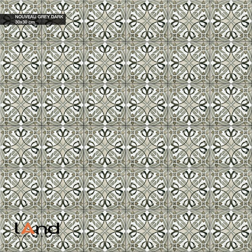 Technical porcelain flooring with encaustic effect NOUVEAU DARK by Land Porcelanico