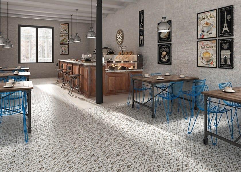 Pavimento in gres porcellanato tecnico effetto cementine nouveau