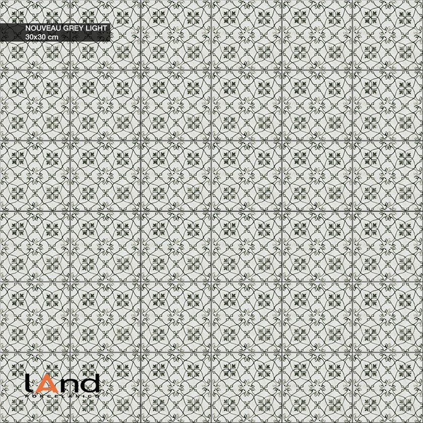 Technical porcelain flooring with encaustic effect NOUVEAU LIGHT GREY by Land Porcelanico