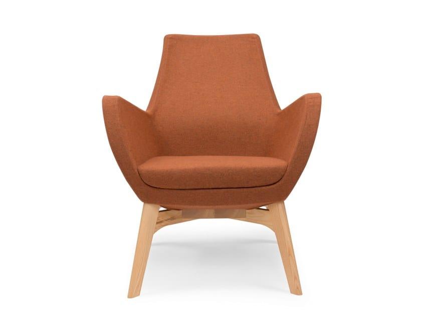 Armchair with armrests NOVA BASSA WOOD by Riccardo Rivoli