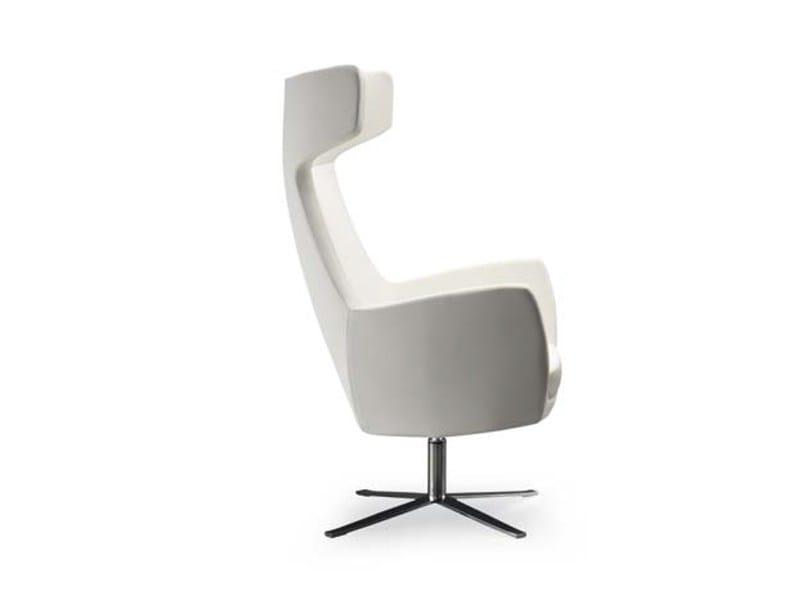 Swivel upholstered armchair with 4-spoke base NOVA ALTA FLAT-STAR by Riccardo Rivoli