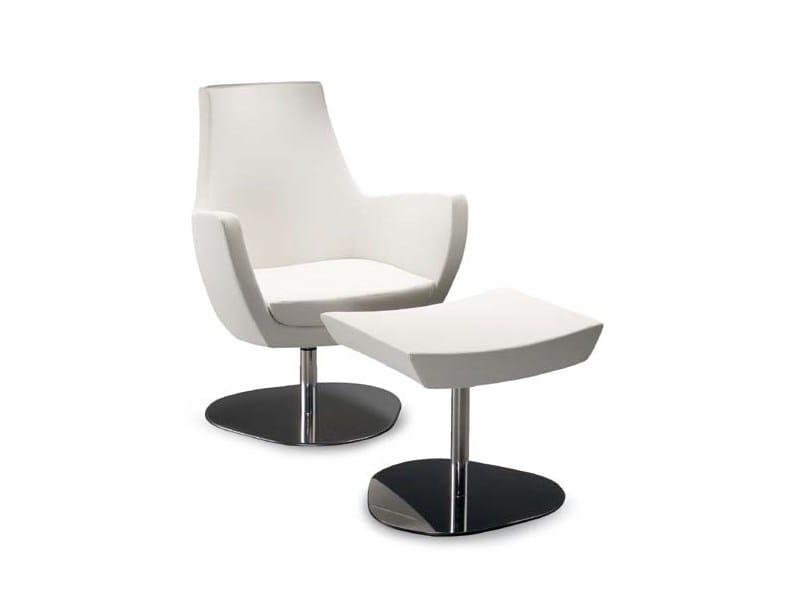 Swivel armchair with footstool NOVA BASSA ROUNDTRIANGLE by Riccardo Rivoli
