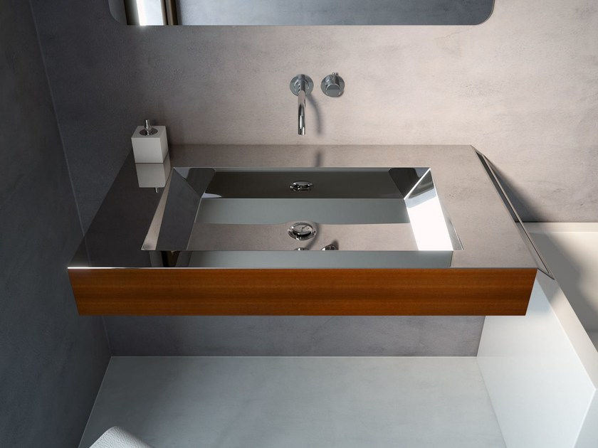 Stainless steel and wood washbasin with towel rail NOVANTA by Componendo