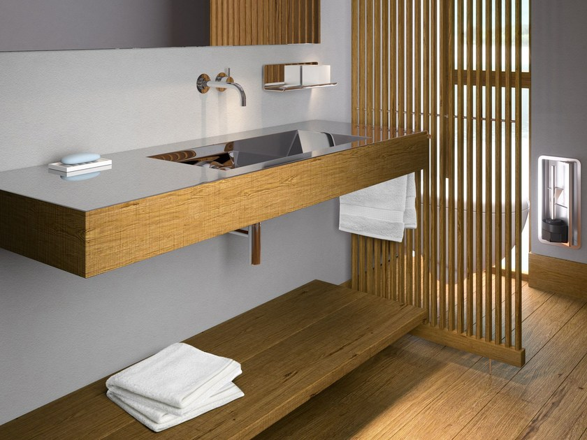Rectangular stainless steel and wood washbasin NOVANTA 130 by Componendo