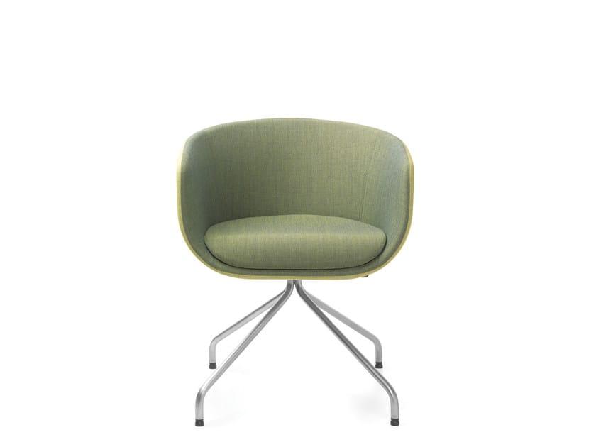 Upholstered trestle-based chair with armrests NU 10HS/20HS20 by profim