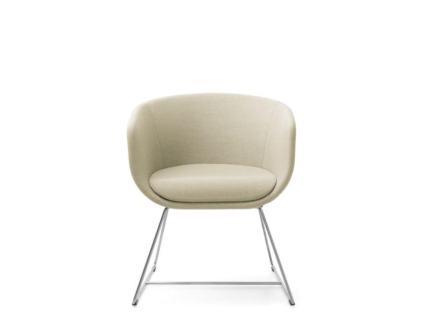 Sled base upholstered chair with armrests NU 10V3/20V3 by profim