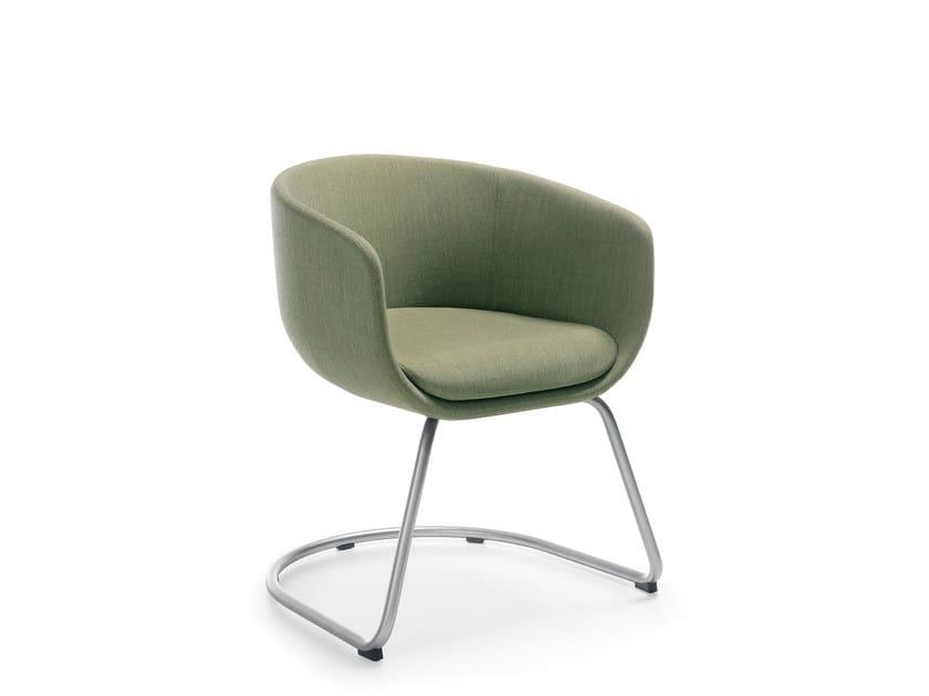 Cantilever upholstered chair with armrests NU 10V1/20V1 by profim