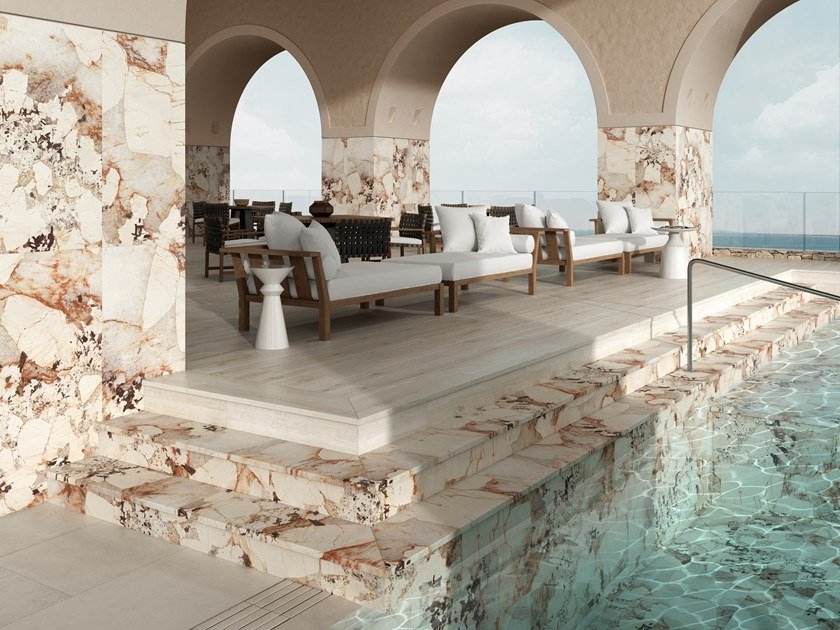 Porcelain stoneware wall/floor tiles with marble effect NUBIA by Exagres