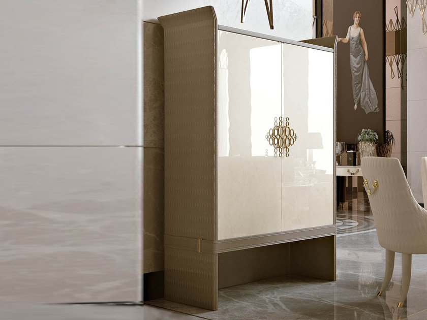 Lacquered wooden highboard with doors NUMERO TRE | Highboard by Turri