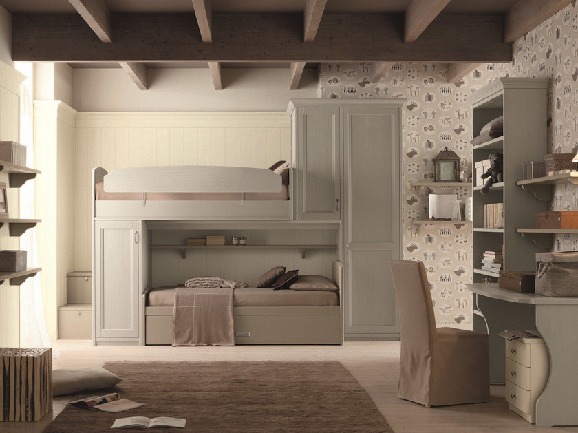 Loft solid wood bedroom set NUOVO MONDO N11 by Scandola Mobili