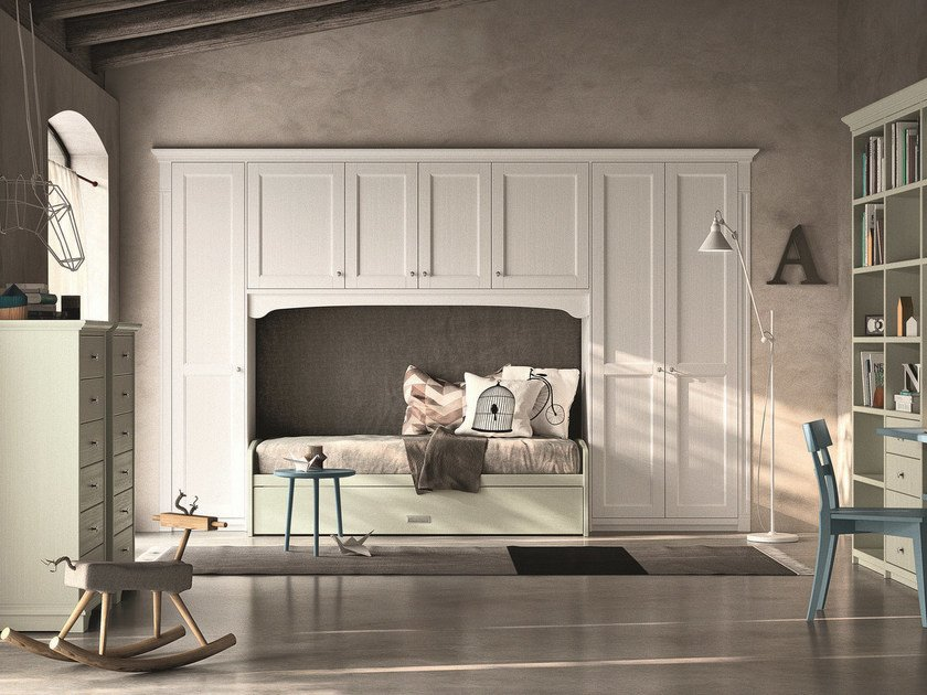 Solid wood bedroom set with bridge wardrobe NUOVO MONDO N21 by Scandola Mobili
