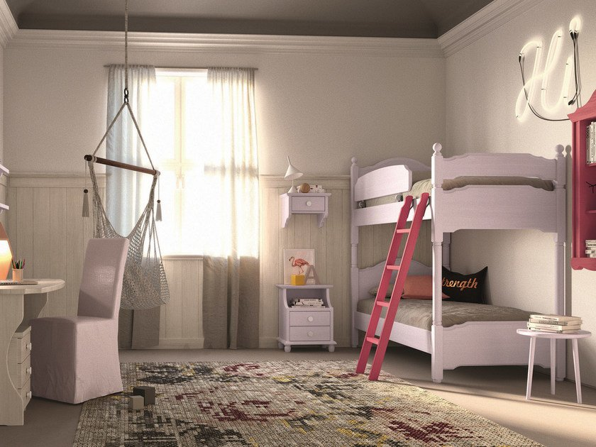 Solid wood bedroom set with bunk beds NUOVO MONDO N25 by Scandola Mobili
