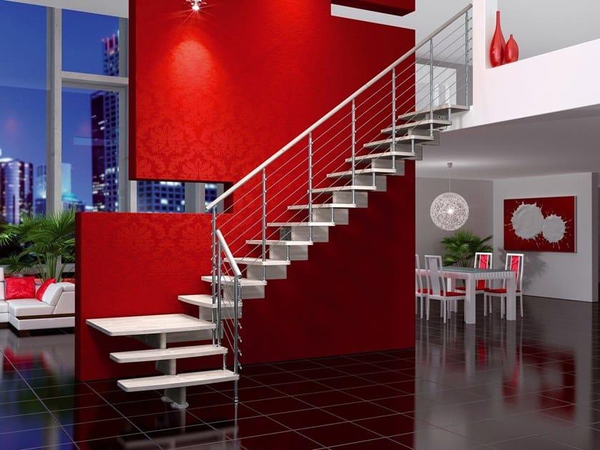 Modular beech Open staircase NUVOLA CHROME by MOBIROLO