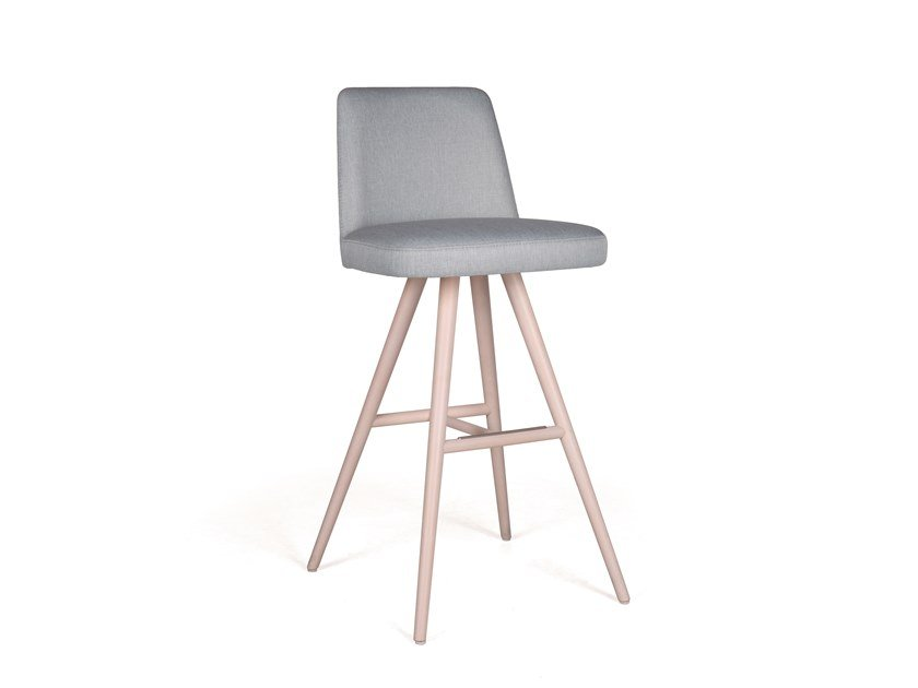 Upholstered solid wood stool NUZZLE BAR by Fenabel