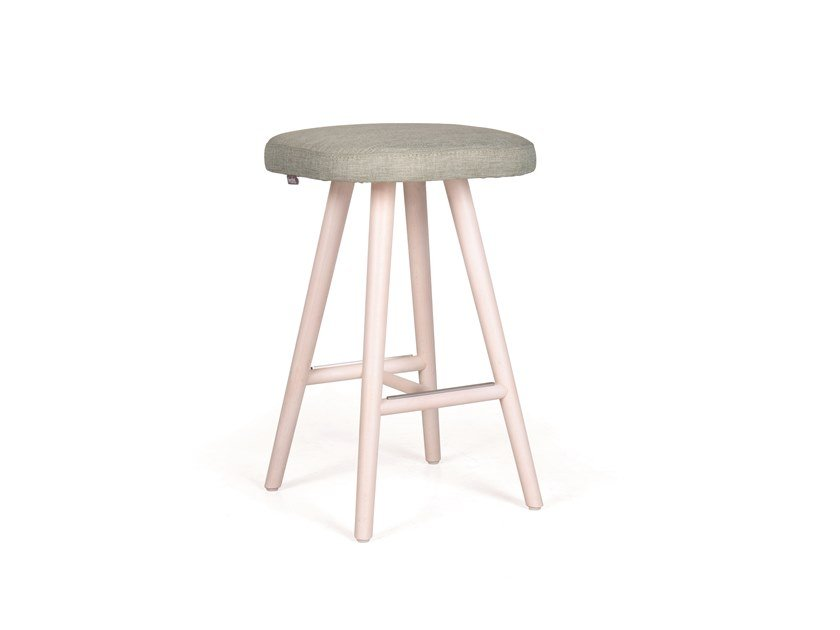 Upholstered solid wood stool NUZZLE H65 by Fenabel