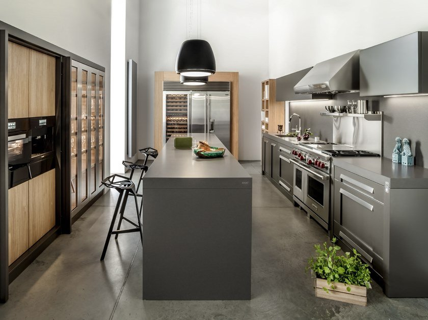 Metal kitchen with island NY by Zajc