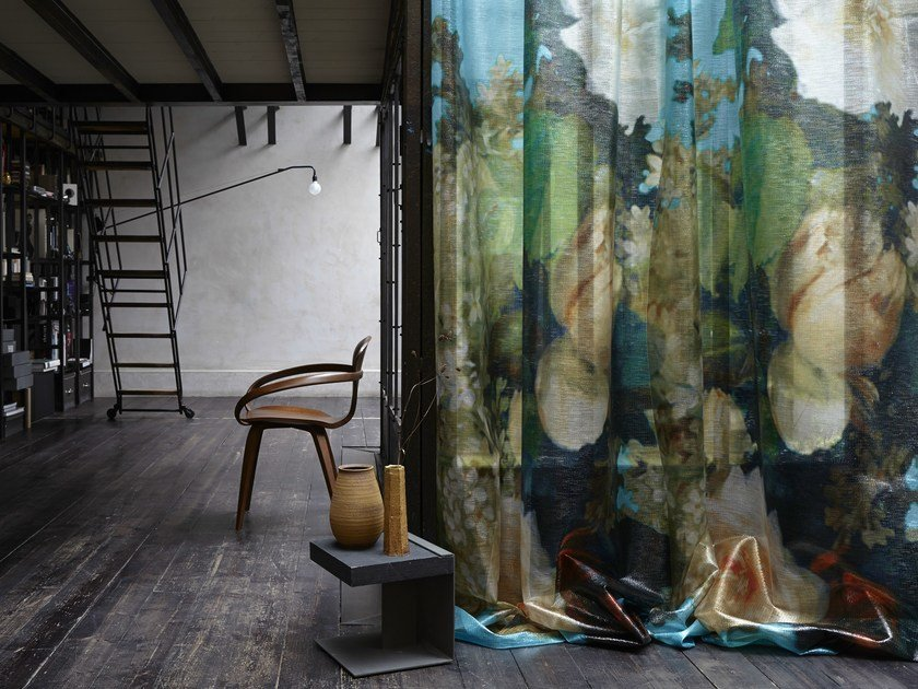 Fire retardant sheer fabric with floral pattern NYMPHE by Élitis
