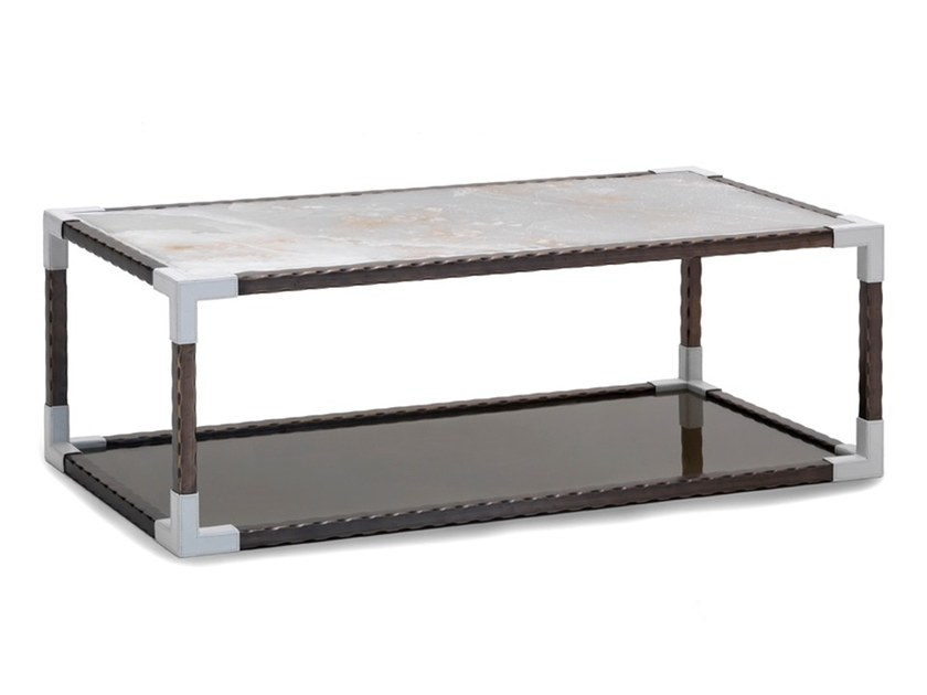 Low rectangular metal coffee table with storage space O 1621 | Coffee table by Annibale Colombo