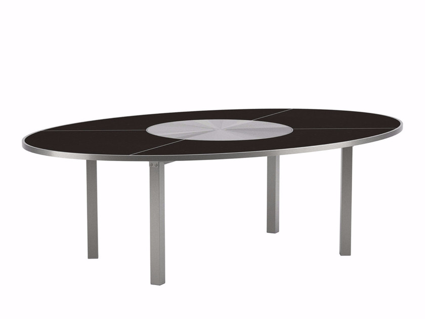 Oval garden table with Lazy Susan O-ZON | Oval table by ROYAL BOTANIA