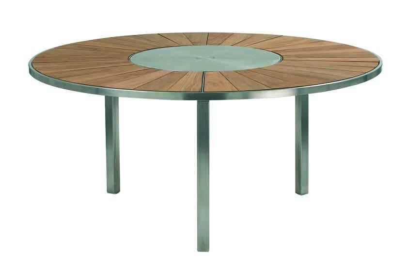 Mesa redonda Lazy Susan de teca para jardín O-ZON | Mesa de teca ...