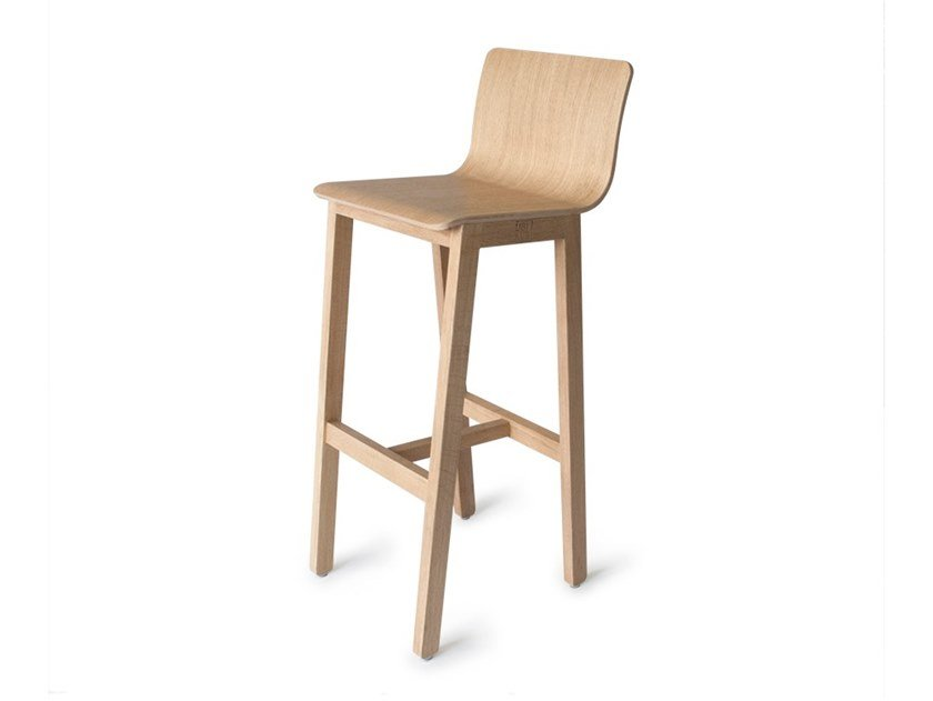 High oak stool with footrest VERSION 3 | Oak stool by UBIKUBI
