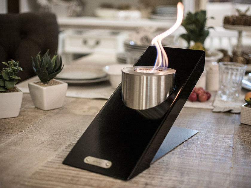 Table-top bioethanol steel fireplace OBLIQUE TABLETOP SINGLE by GlammFire