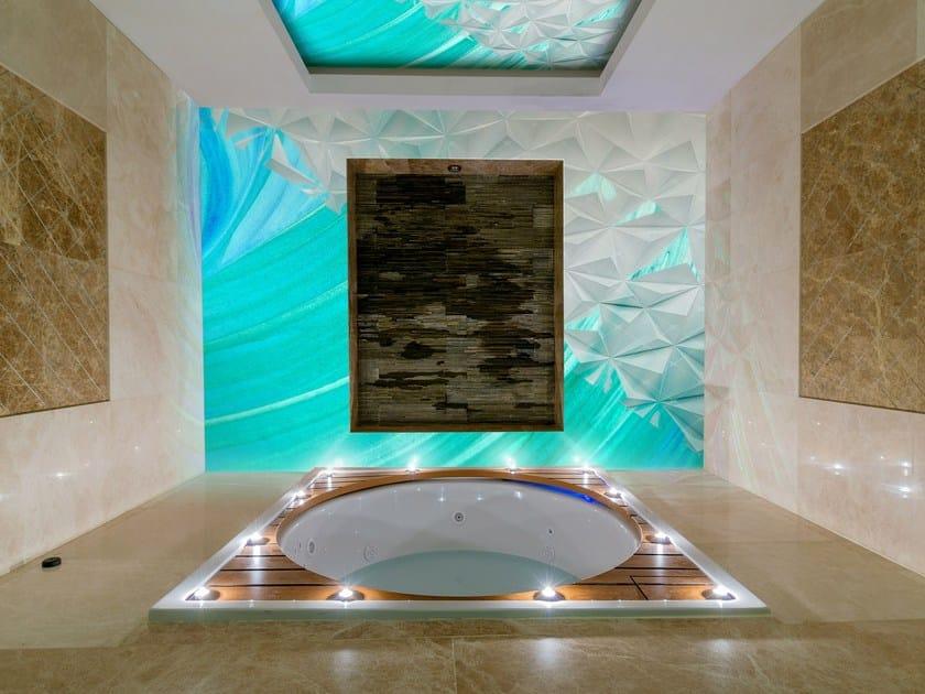 Glass-fibre bathroom wallpaper OCEAN BLUE by Wall LCA