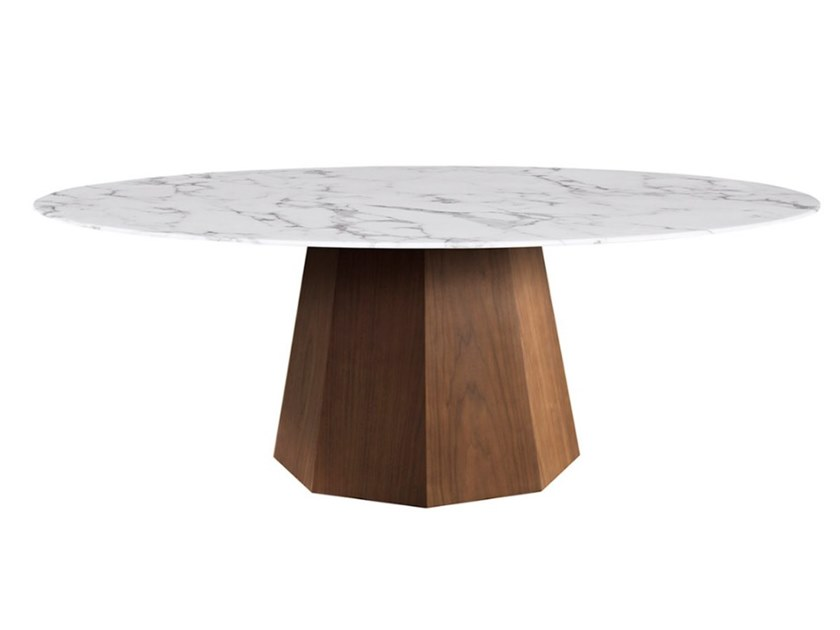 Round wood veneer table with marble top OCTO | Round table by Conceito Casa