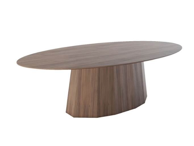 Oval wood veneer table OCTO | Wooden table by Conceito Casa