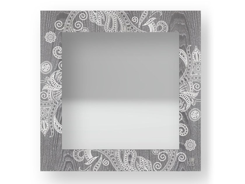 Square wall-mounted framed mirror ODALISQUE COLD | Mirror by LIGNIS®