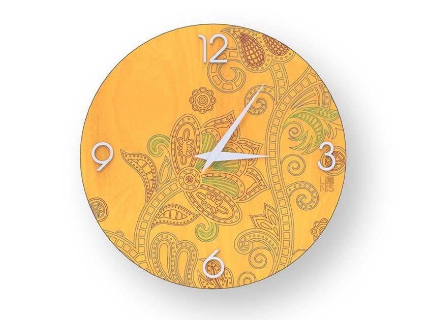 Wall-mounted wooden clock ODALISQUE COLORS | Clock by LIGNIS®
