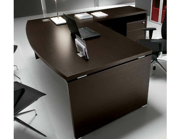 L-shaped wooden office desk with drawers ODEON | L-shaped office desk by Castellani.it