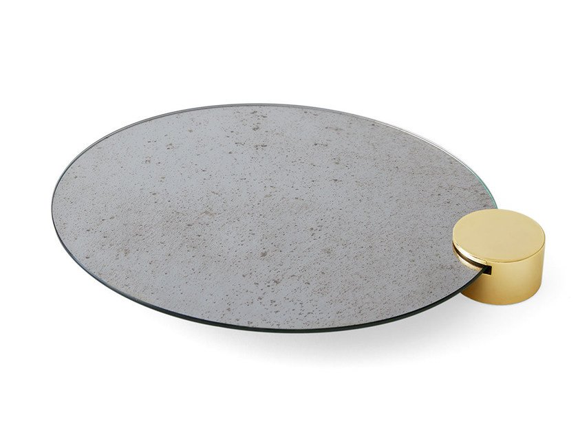 Oval antiqued mirror tray ODETTE | Tray by Gallotti&Radice