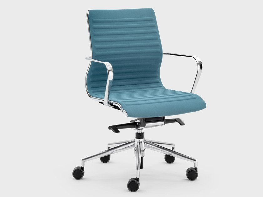 Trestle-based fabric office chair with castors OMEGA | Office chair by Viganò