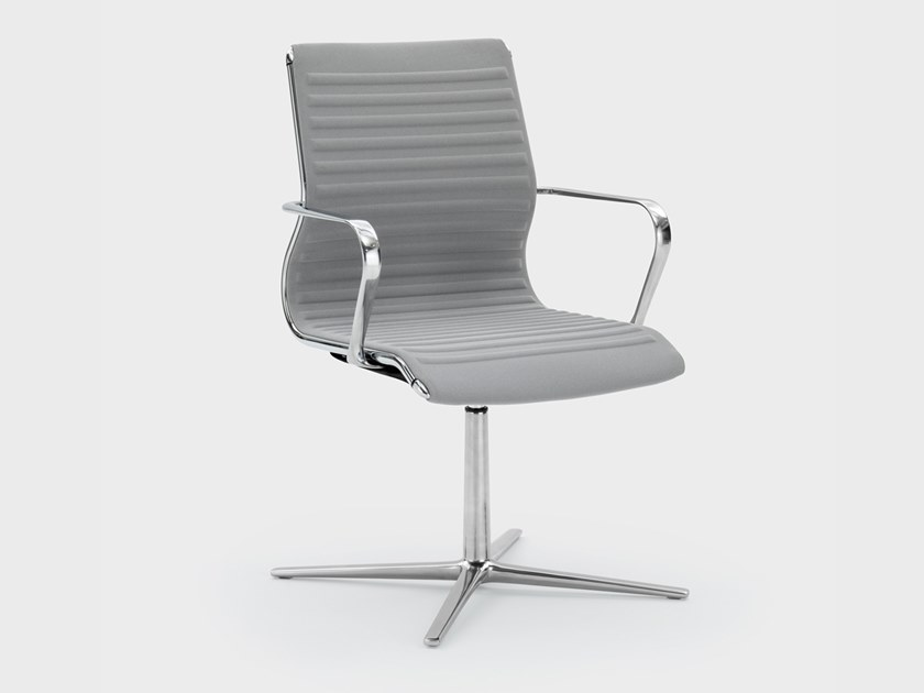 Fabric office chair with 4-Spoke base with armrests OMEGA | Office chair with 4-Spoke base by Viganò