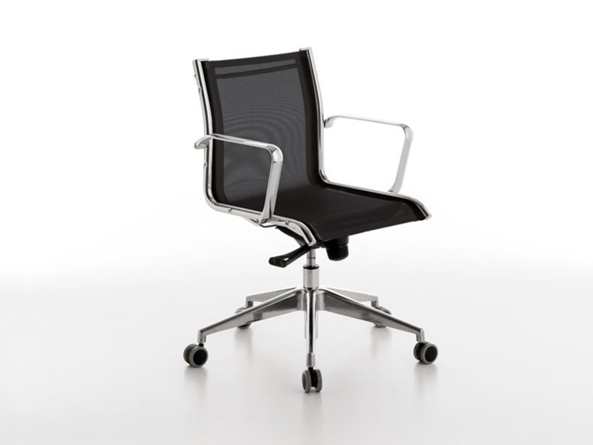 Swivel mesh office chair with castors NET | Office chair with castors by Manerba