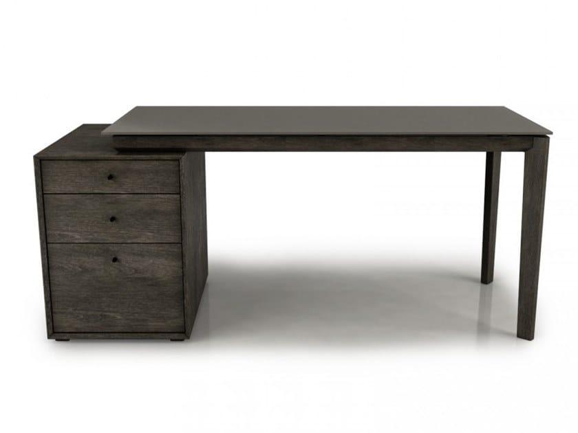Rectangular beech office desk with drawers OUTLINE | Office desk with drawers by Huppé