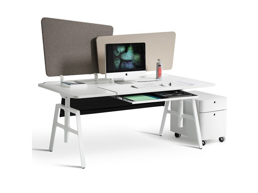 Rectangular workstation desk with drawers ETIO | Office desk with drawers by Wiesner-Hager