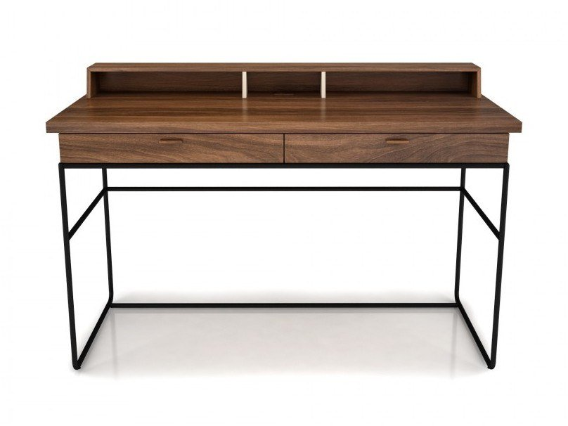 PC walnut secretary desk with drawers LINEA | PC secretary desk by Huppé