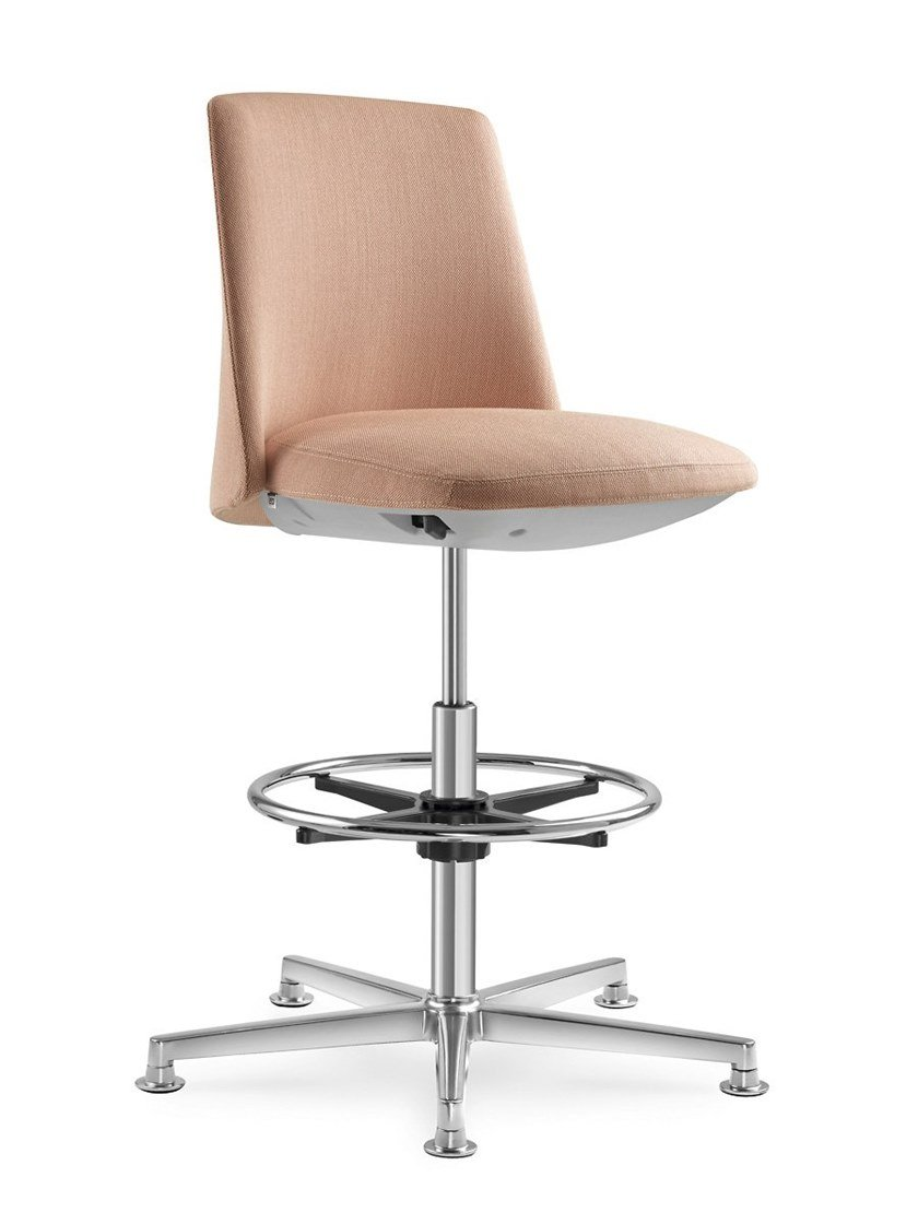Fabric office stool with 5-Spoke base with back MELODY DESIGN | Office stool by LD Seating