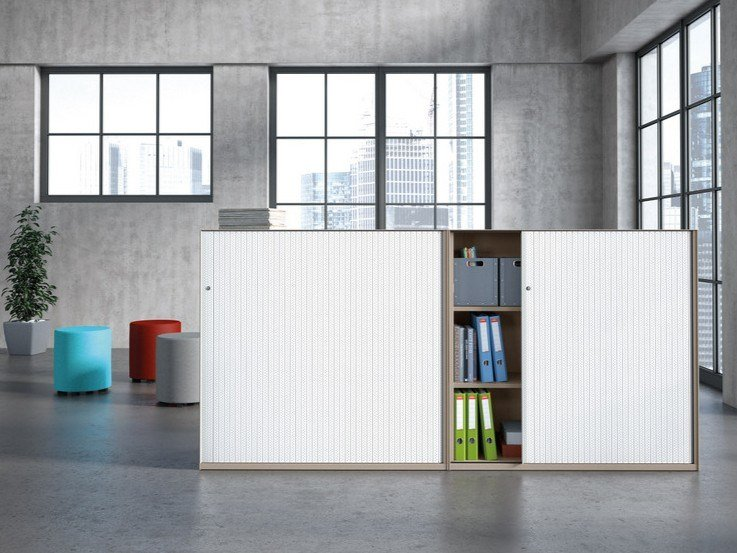 Tall Steel Office Storage Unit With Sliding Doors ACTA.FERRO | Office  Storage Unit With