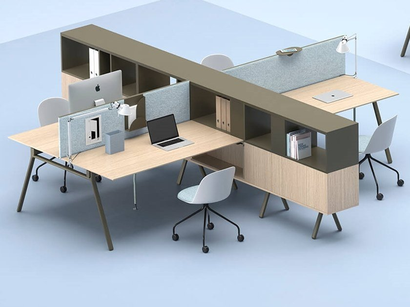 Multiple office workstation with shelves LAY | Office workstation by Archiutti