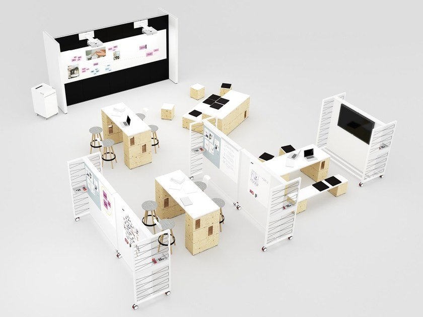 Multiple plywood office workstation for open space PIXEL   Office workstation by BENE