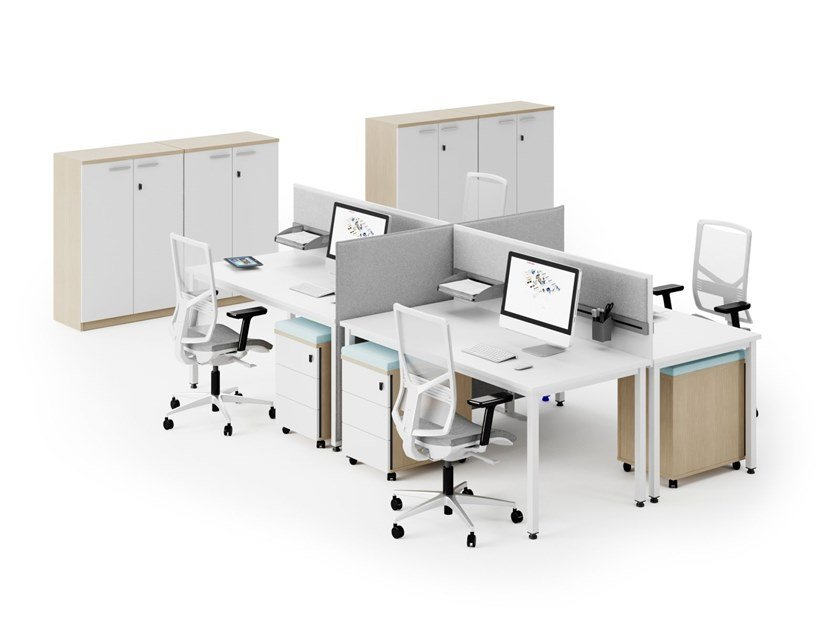 Multiple office workstation with desk screens P-SQUARE | Office workstation by FURNIKO