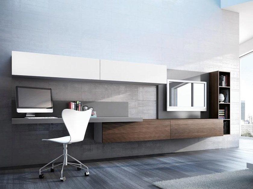 Wooden storage wall with secretary desk OFFICE01 by Kico