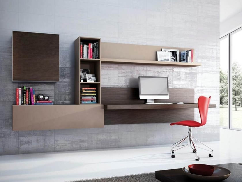 Wooden storage wall with secretary desk OFFICE02 by Kico