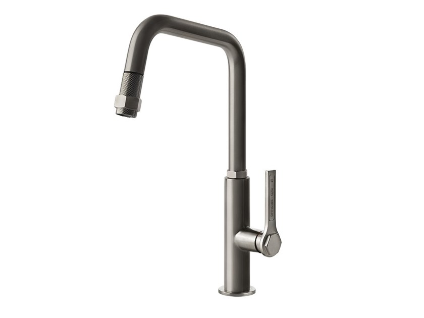 Single handle stainless steel kitchen mixer tap with pull out spray OFFICINE GESSI - 60053 by Gessi