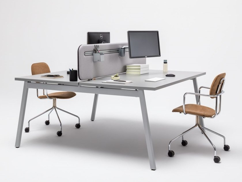 Multiple office workstation with sound absorbing screens OGI_M | Office workstation by MDD