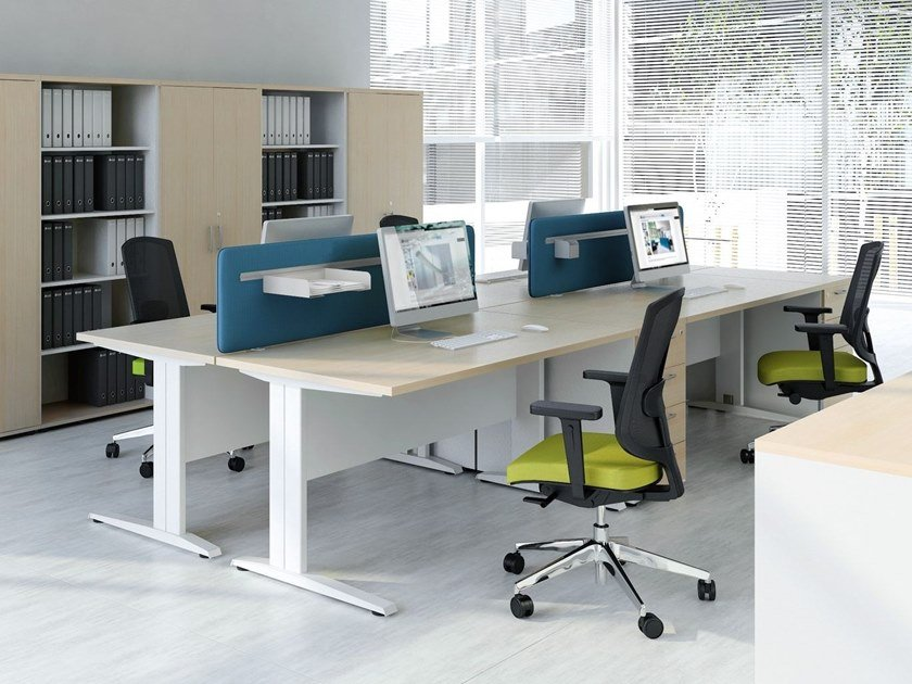 Multiple office workstation with sound absorbing screens OGI_N | Office workstation by MDD
